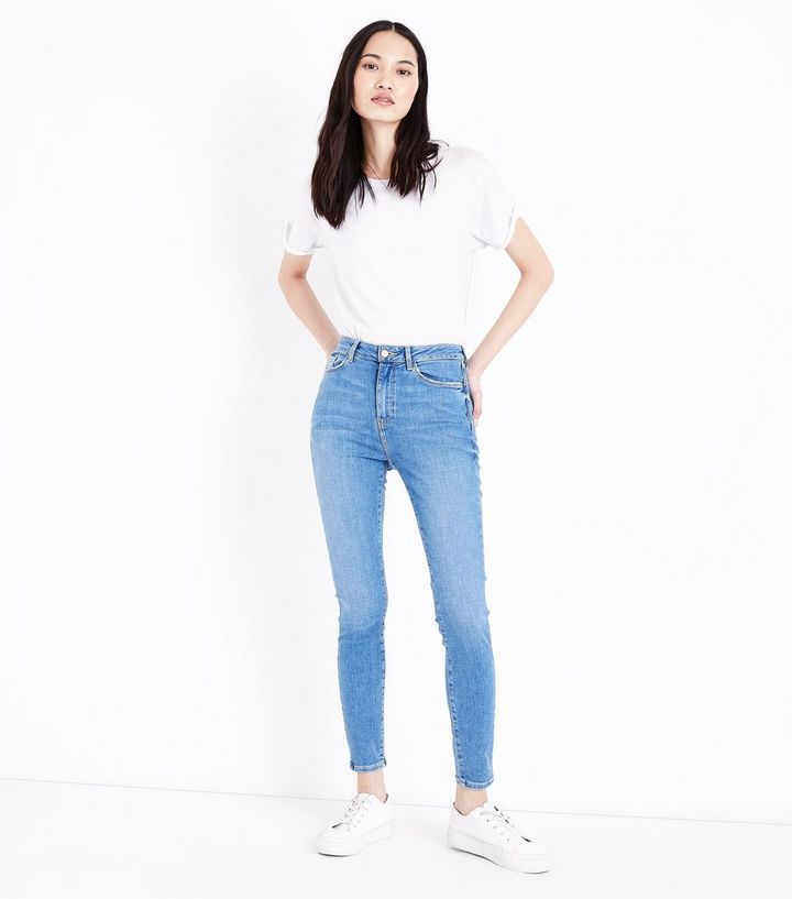 f146a558 Blue High Rise Super Skinny Dahlia Jeans   New Look