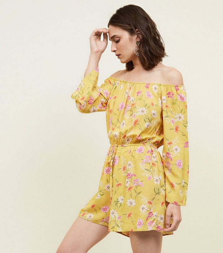 d1fc51273a Yellow Floral Bardot Playsuit