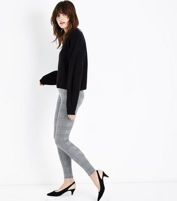 Black Prince of Wales Check Leggings New Look