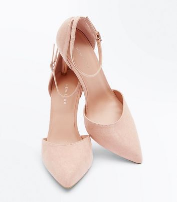 Nude Suedette Ankle Strap Pointed Courts New Look