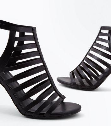 Black Stiletto Heel Gladiator Sandals New Look