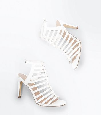 White Stiletto Heel Gladiator Sandals New Look