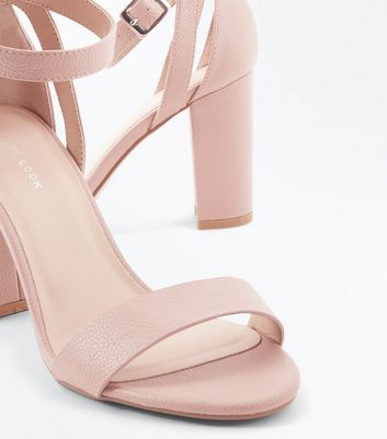 Nude Textured Cut Out Block Heel Sandals New Look
