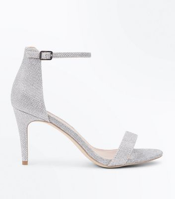 Silver Glitter Ankle Strap Stiletto Heel Sandals New Look