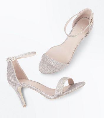 Gold Glitter Ankle Strap Stiletto Heel Sandals New Look