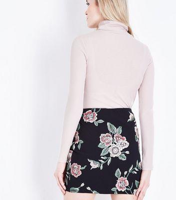 Black Floral Puff Print Mini Skirt New Look