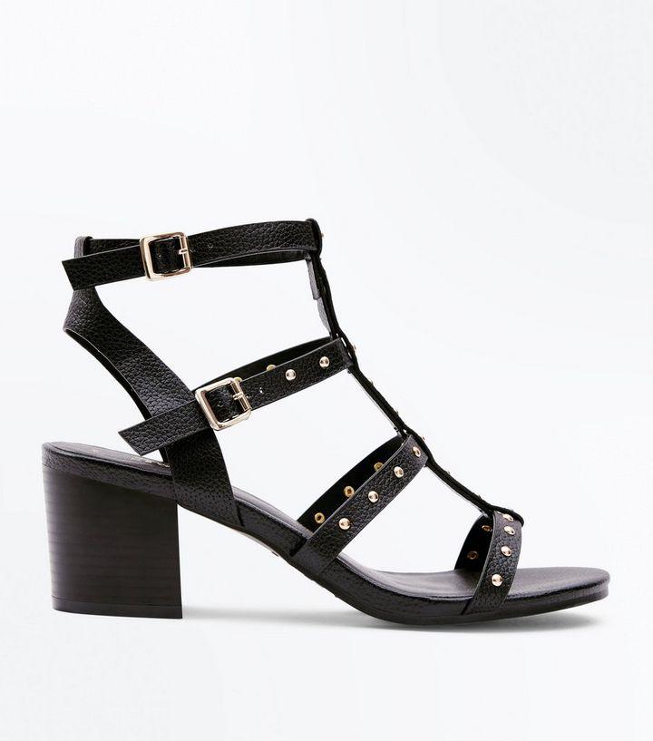 86a5b2f7550 Black Studded Block Heel Gladiator Sandals