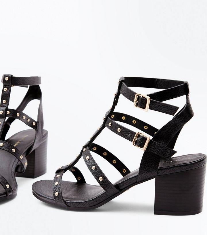 822750d3a01 ... Black Studded Block Heel Gladiator Sandals. ×. ×. ×. Shop the look