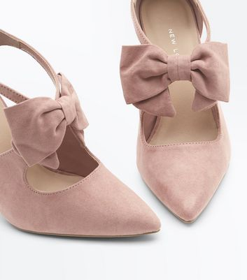 Wide Fit Pink Suedette Bow Front Pointed Courts New Look
