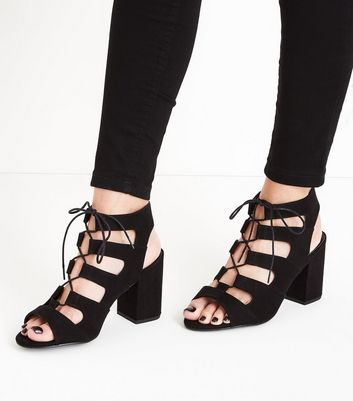 Wide Fit Black Suedette Lace Up Sandals New Look