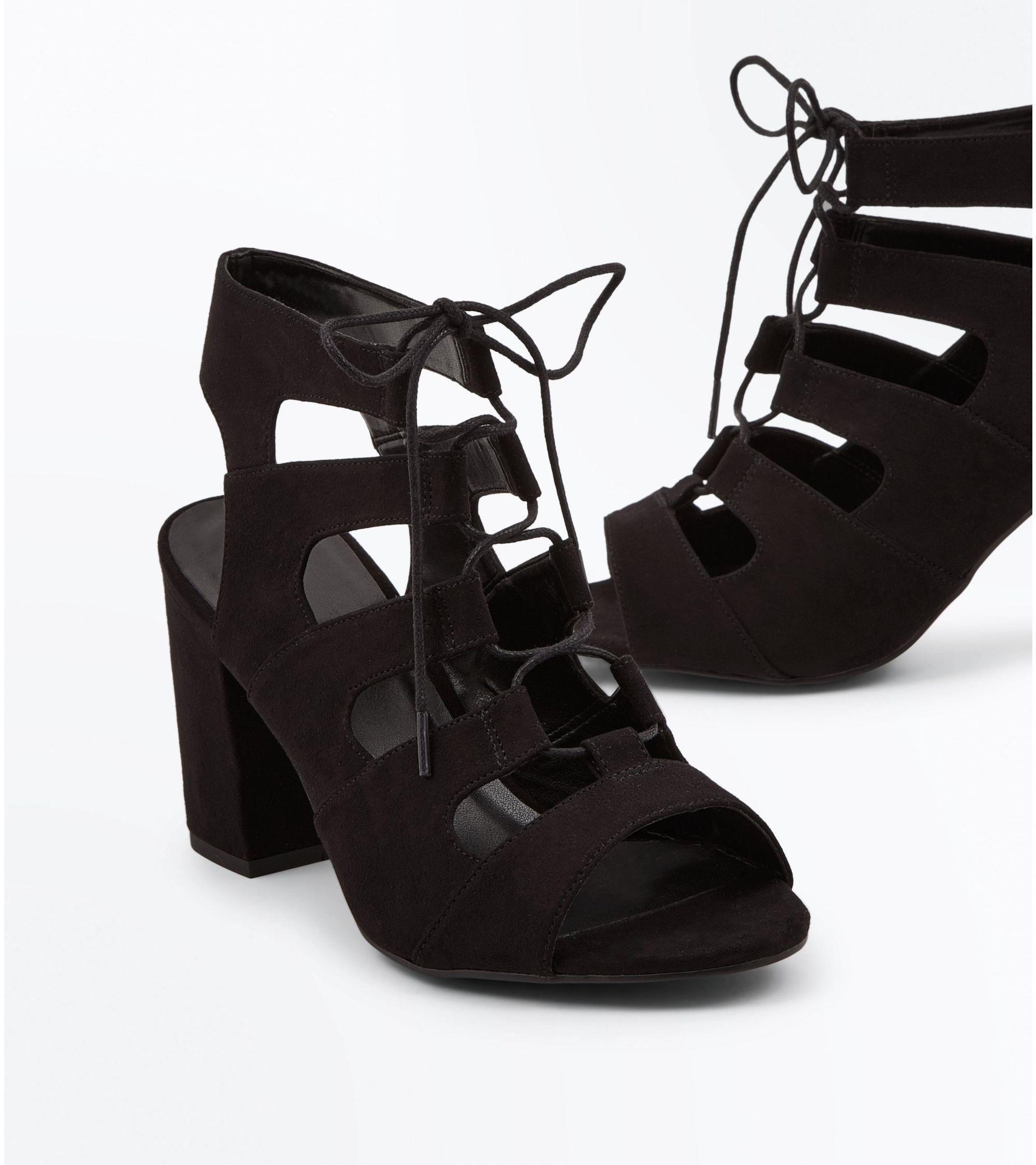 42bc722b2e49 New Look Wide Fit Black Suedette Lace Up Sandals at £29.99