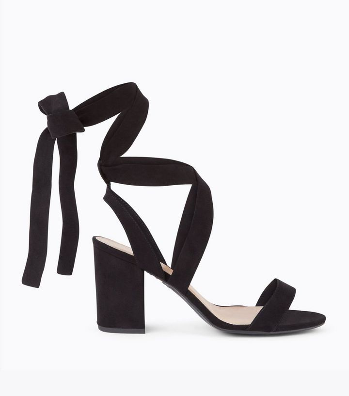 332982f6aec Wide Fit Black Suedette Ankle Tie Heeled Sandals New Look