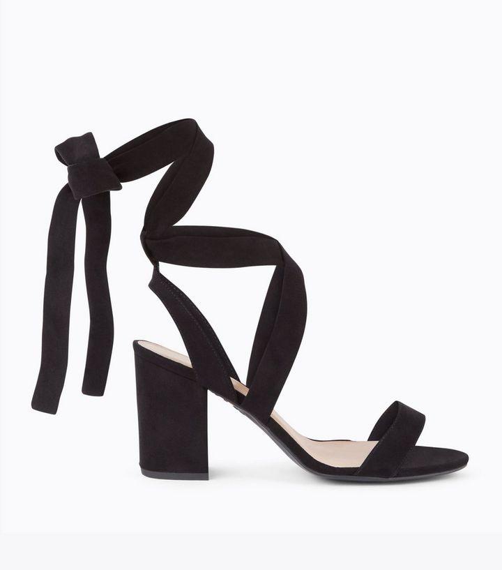 3d04dbeb8ca Wide Fit Black Suedette Ankle Tie Heeled Sandals