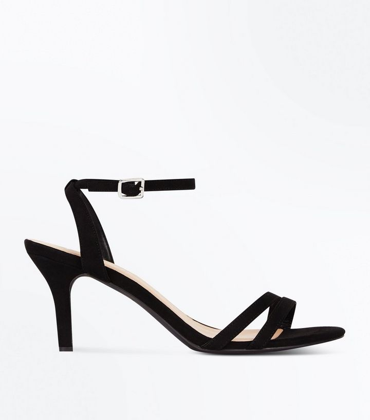 fe59cce4dd Wide Fit Black Suedette Strappy Mid Heel Sandals   New Look