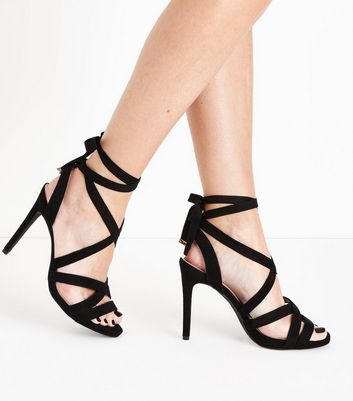 Wide Fit Black Suedette Tie Up Stiletto Sandals New Look