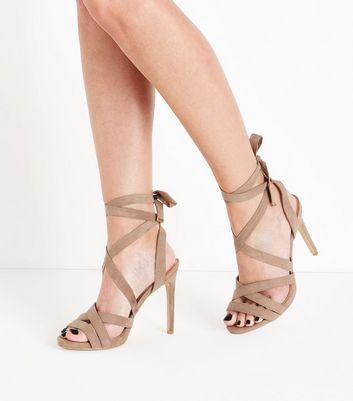 Wide Fit Light Brown Suedette Tie Up Stiletto Sandals New Look