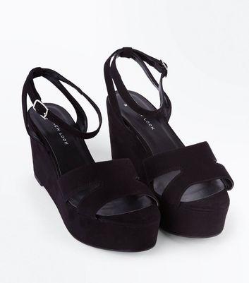 Wide Fit Black Suedette Flatform Wedge Sandals New Look