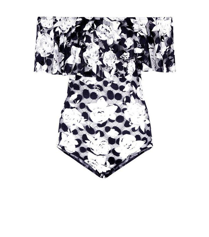 ead9e70495 Blue Vanilla Black Floral Lace Mesh Bodysuit