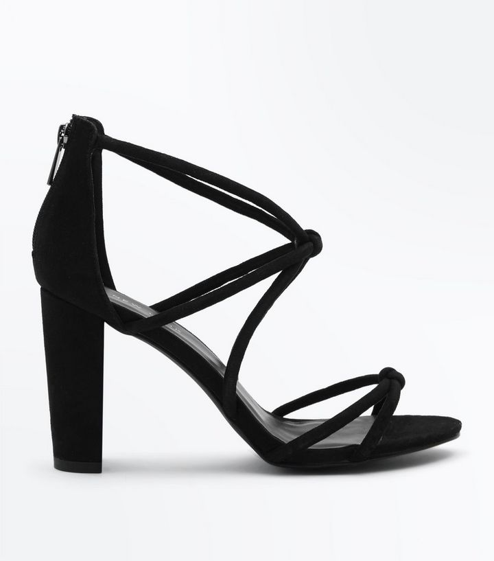 6d70cdd6f934 Black Suedette Knot Strappy Block Heels