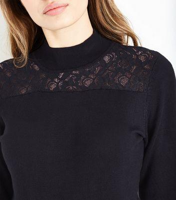 Apricot Black Lace Yoke Jumper New Look
