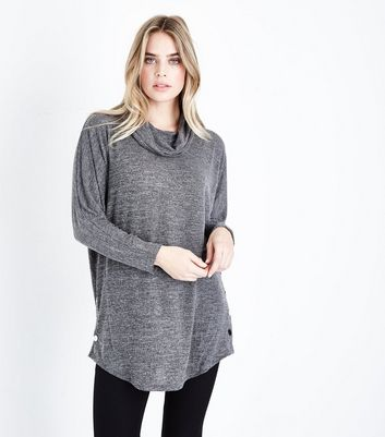 Apricot Black Marl Cowl Neck Popper Side Top New Look