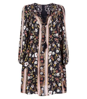 Apricot Black Floral Print Tie Neck Dress New Look