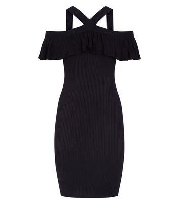 Apricot Black Frill Trim Ribbed Bodycon Dress New Look