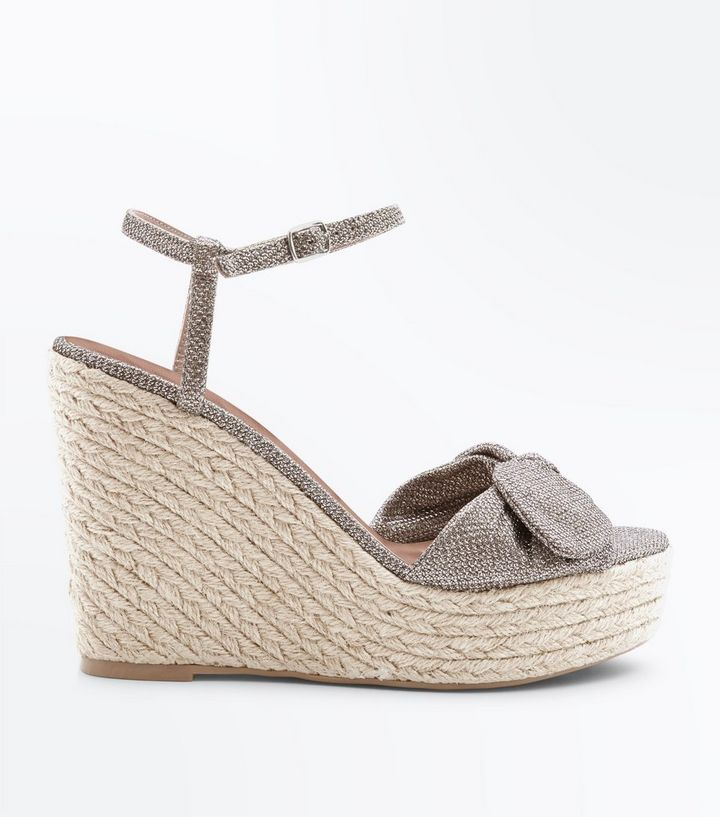 4ae1c74b075 Gold Glitter Bow Strap Straw Wedges Add to Saved Items Remove from Saved  Items
