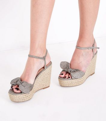 Gold Glitter Bow Strap Straw Wedges New Look