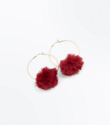 Burgundy Pom Pom Trim Hoop Earrings New Look