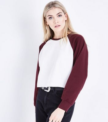 Burgundy Raglan Sleeve Cropped Sweatshirt New Look