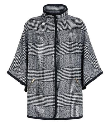 Cameo Rose Grey Prince of Wales Check Cape Jacket New Look