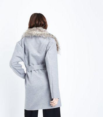 Cameo Rose Grey Faux Fur Collar Coatigan New Look