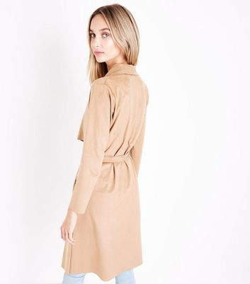 Cameo Rose Camel Suedette Waterfall Mac Jacket New Look