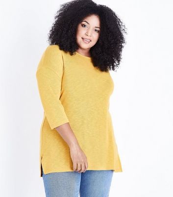Curves Mustard Yellow Lattice Back Fine Knit Top New Look