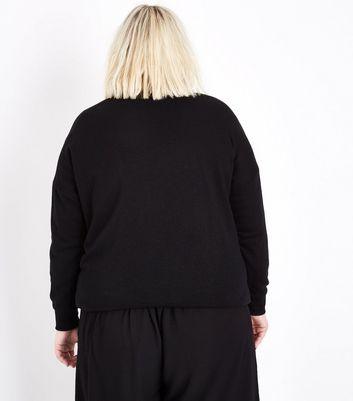 Curves Black J'Adore Metallic Print Sweatshirt New Look