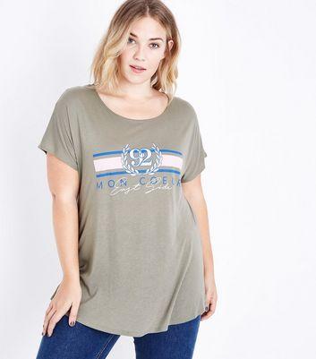 Curves Khaki East Coast Crest T-Shirt New Look