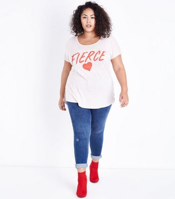 Curves Shell Pink Fierce Heart Print T-Shirt New Look