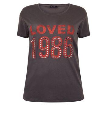 Curves Dark Grey Loved Glitter Stud Slogan T-Shirt New Look