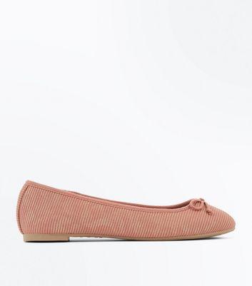 Pink Ribbed Ballet Pumps New Look