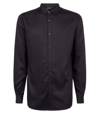 Black Viscose Long Sleeve Shirt New Look