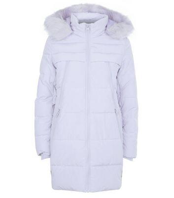 Lilac Faux Fur Trim Longline Puffer Jacket New Look