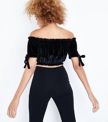 Cameo Rose Black Velvet Gathered Bardot Crop Top New Look