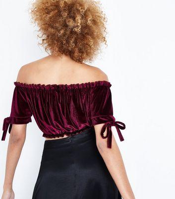 Cameo Rose Burgundy Velvet Gathered Bardot Crop Top New Look