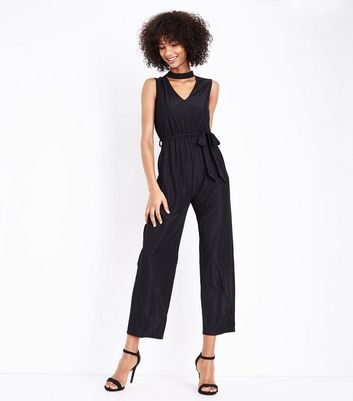Mela Black Choker Neck Jumpsuit