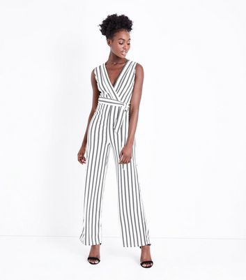 Mela White Stripe V Neck Jumpsuit