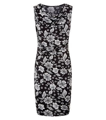 Mela Black Floral Print Cowl Neck Dress New Look