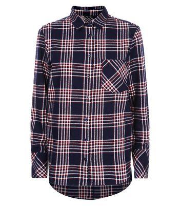 Navy Check Cotton Shirt New Look