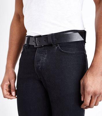 Black Stud Leather Belt New Look