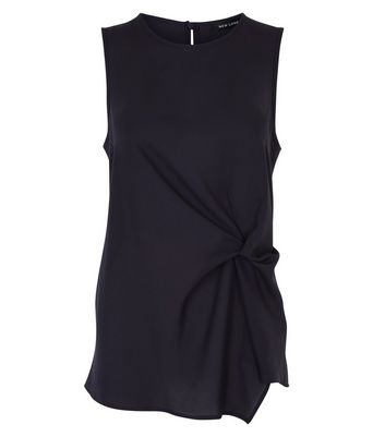 Black Asymmetric Twist Front Sleeveless Top New Look